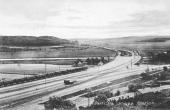 Udsigt over Langå Station og broer ca. 1910 kort efter opførelsen af de to gitterbroer.