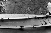 Sprængt ståldrager fra en af gitterbroerne efter 1943-sabotagen. Foto fra Frihedsmuseet.