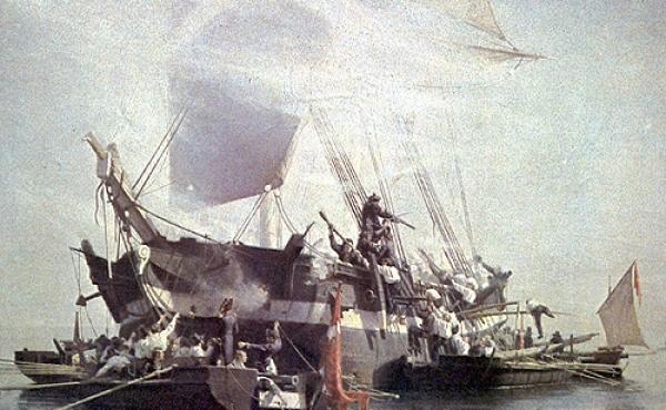 Kanonbådene var små men effektive, og herfra kom det ofte til nærkamp med den engelske flåde. (Maleri Chr. Mølsted)