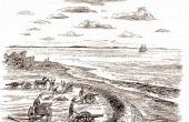 Forsvaret langs kystskanserne kunne udbygges med små mobile kanoner. (tegn. Jens Frimer)