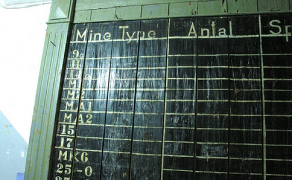 Lagertavle fra fortets brug som minedepot 1948-52.