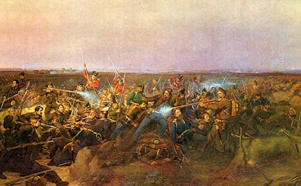 Situationsbillede fra det afgørende slag ved Fredericia malet af J.V.Sonne.