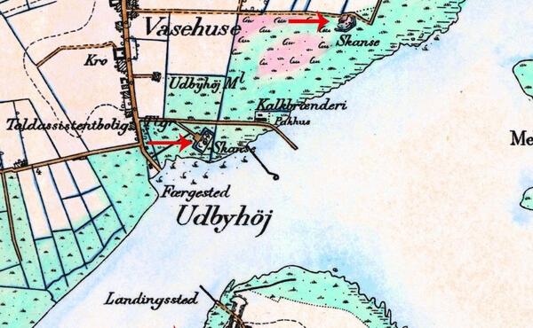De tre skanseanlæg ved Udbyhøj på ældre målebordsblad-kort.