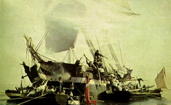 Angreb med små kanonbåde på engelsk orlogsskib.