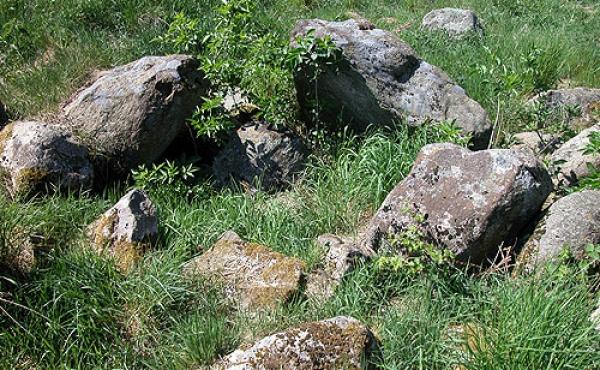 11: Bærestenene i langdyssens vestlige gravkammer set fra sydøst.