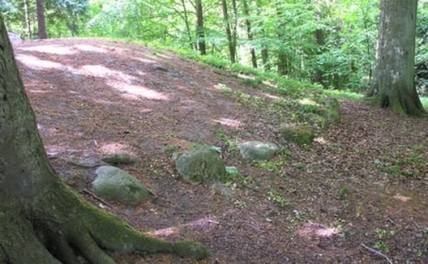 3: Randsten langs højens nordside er stadig bevaret.
