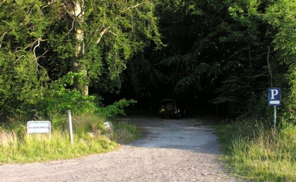 Parkeringspladsen i nordkanten af skoven ved Marienborg.