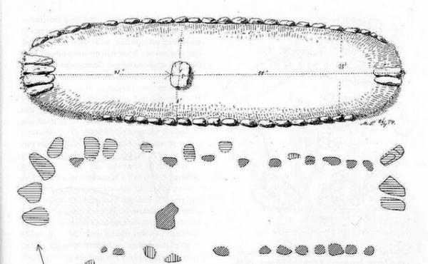 Grundplan af Nils Halses Høj, 1874. Tegn. J.M. Petersen, Nat. Mus.