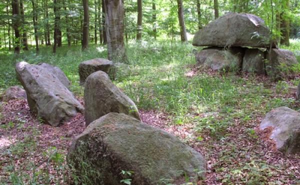 Randsten langs vestsiden og gravkammeret set fra sydvest.
